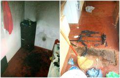 La habitación y los restos de la valija incendiada